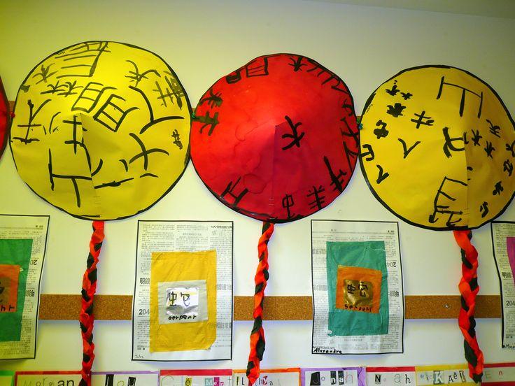 Nouvel an chinois Chapeaux et tracé de signes chinois sur du papier culte or…