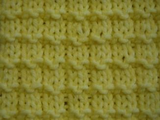 Waffle knitting stitch: Multiple of 3 + 1. 1st row (right side): P1 , *k2, p1; rep from * to end. 2nd row: K1, *p2, k1; rep from * to end. 3rd row: As 1st row. 4th row: Knit. Rep these 4 rows.