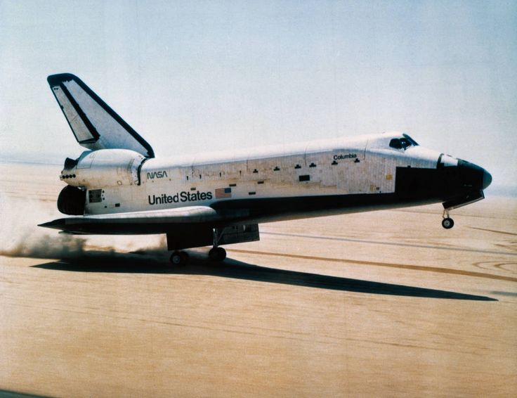 April 14, 1981, Landing of First Space Shuttle Mission-Shuttle Columbia landing on dry lake bed