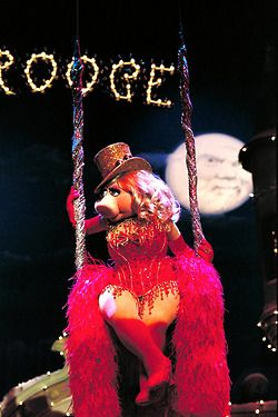 Moulin Rouge--Miss Piggy always looks good in red and wearing a red hat!