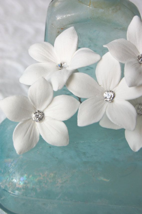 Stephanotis Hair Pins  With Swarovski Rhinestone by PetalByPetal, $30.00