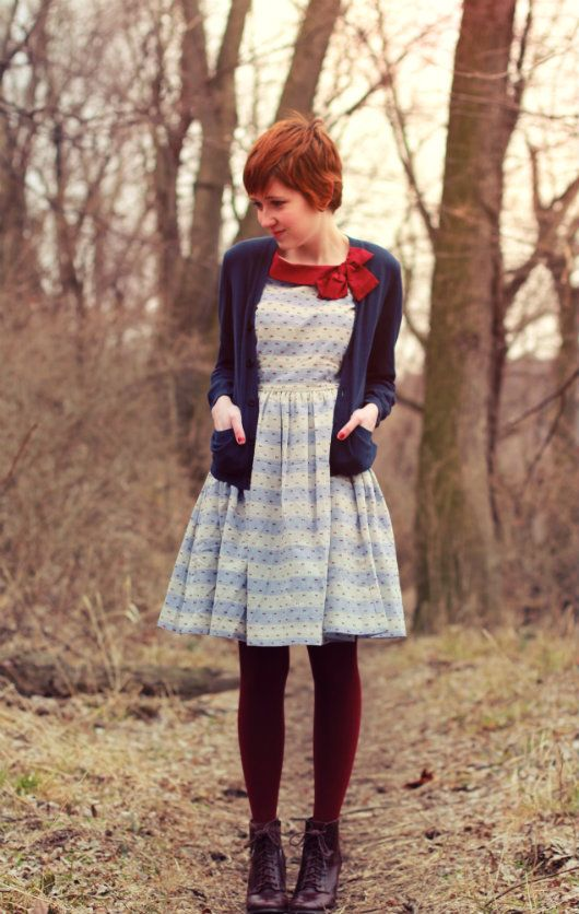 Rebecca of The Clothes Horse in our Knitted Dove Hallie Striped Chambray Dress