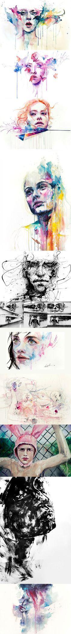 Les peintures, dessins à l'encre et aquarelles de Agnes Cécile.