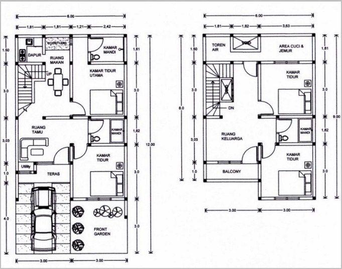 Gambar Denah Rumah Minimalis 2 Lantai Modern 12
