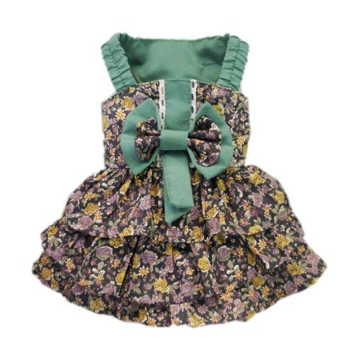 Elegant Floral Tiered Dog Clothes for Dog Dress Cozy Cute Dog Shirt Free Shipping,Green,M
