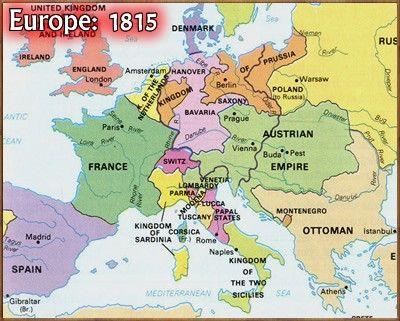 Map of Europe, 1815 | April\'s Awesome Ancestry | Europe continent ...
