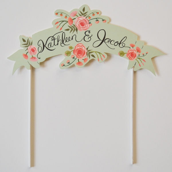 Peach and Mint Handpainted #Wedding Cake Topper from The First Snow | onefabday.com