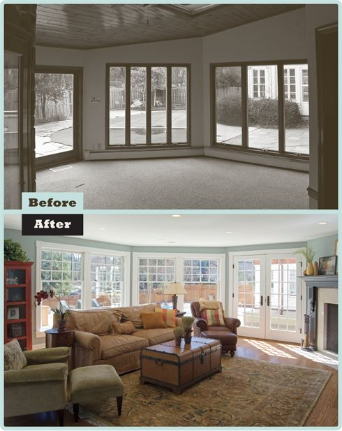 Living Room Renovation Before And After before & after: south wayne family room renovation - love the new