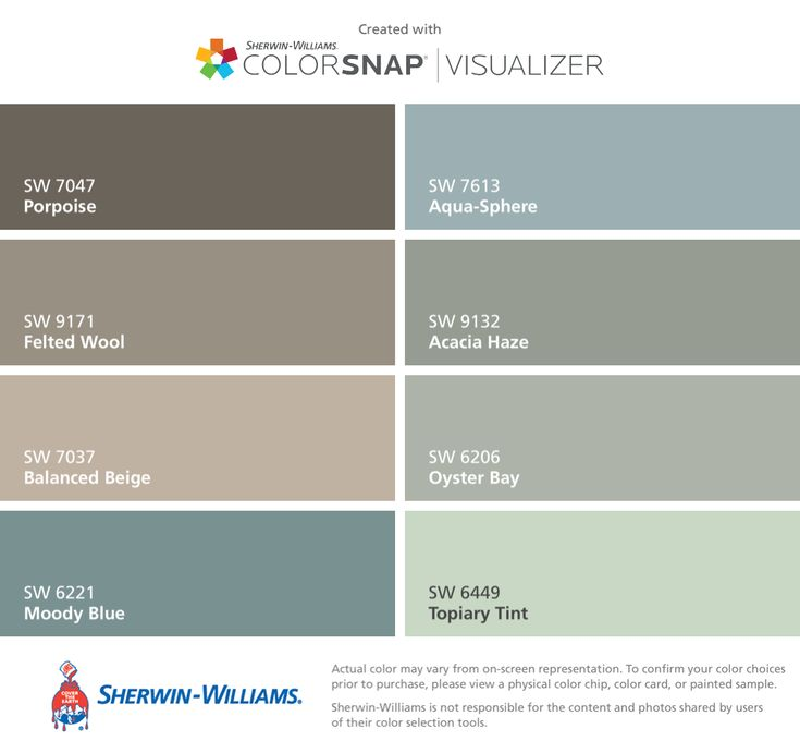 I found these colors with ColorSnap® Visualizer for iPhone by Sherwin-Williams: Porpoise (SW 7047), Felted Wool (SW 9171), Balanced Beige (SW 7037), Moody Blue (SW 6221), Aqua-Sphere (SW 7613), Acacia Haze (SW 9132), Oyster Bay (SW 6206), Topiary Tint (SW 6449).