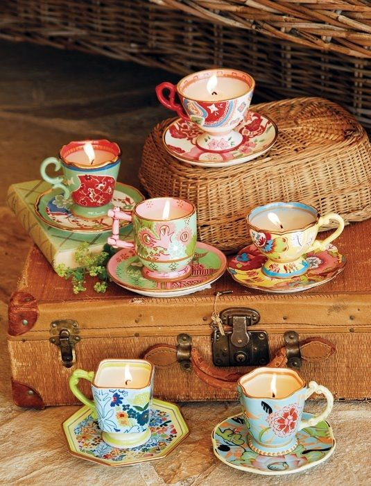 Tea cup candle holders candle holders and more for Teacup party favors
