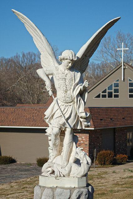 Statue of Saint Michael the Archangel, at Saint Michael Church, in Steelville, Missouri, USA, via Flickr.