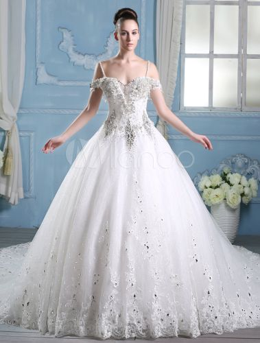 ivory a line straps neck beading cathedral train wedding dress
