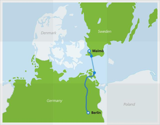 Map with Berlin Night Express route