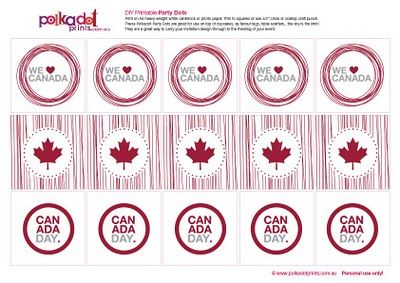 July 1st - Canada Day - scatter on buffet table or print on sticker paper for the kids to stick on their shirts