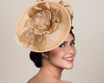 Golden Sinamay Headpiece. Saucer Hat. Fascinator. Derby Day. Neutral with Metallic Gold Roses and Bleached Peacock Feathers. MADE TO ORDER