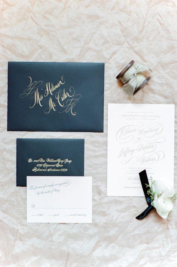 confetti daydreams wedding invitations%0A Black White and Gold Wedding Invitations