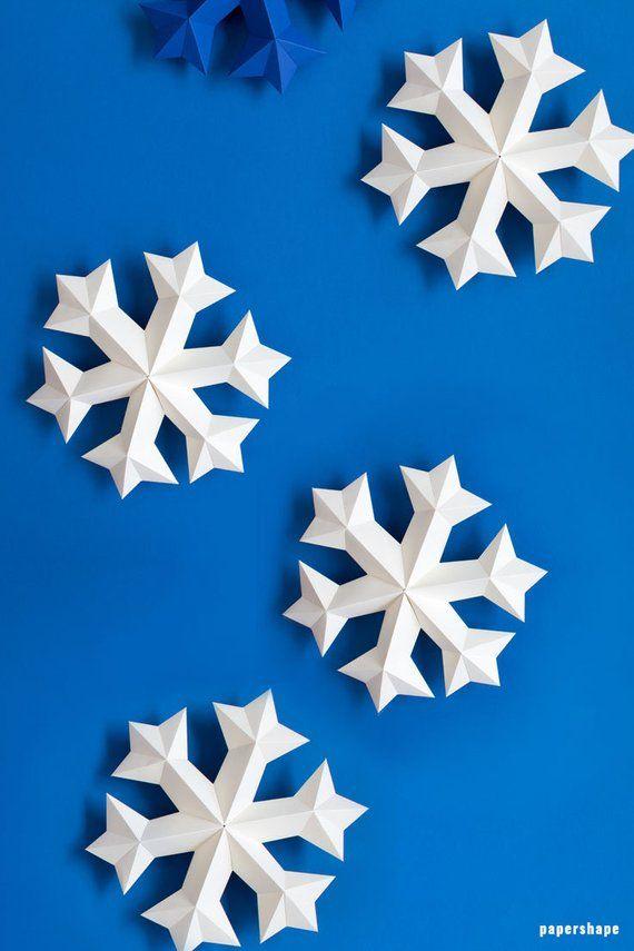 Snowflake Ornaments 3d Papercraft Snowflakes Christmas Snowflakes Decoration Download Pdf Template Paper Snowflake Svg Papershape 3d Snowflakes Snowflake Template Paper Snowflakes