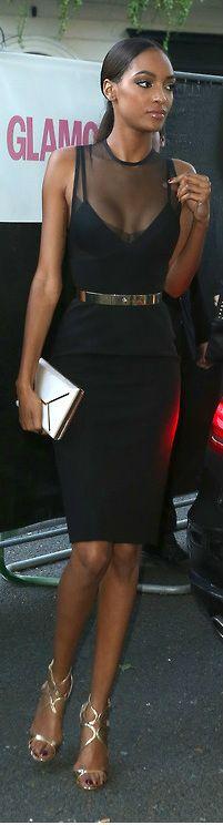Jourdan Dunn in Victoria Beckham dress.  Love the gold shoes too.