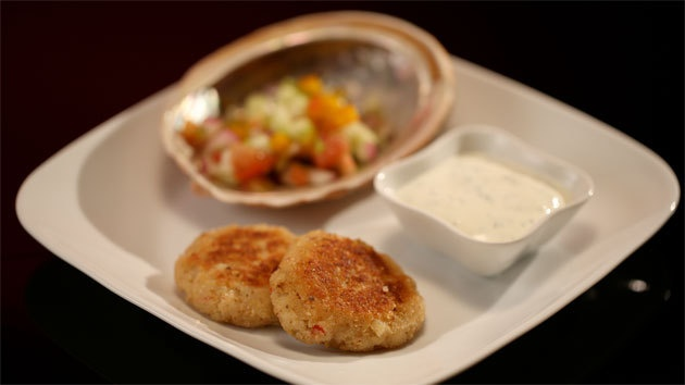 Abalone Patty with Salsa and Zesty Herb Yoghurt