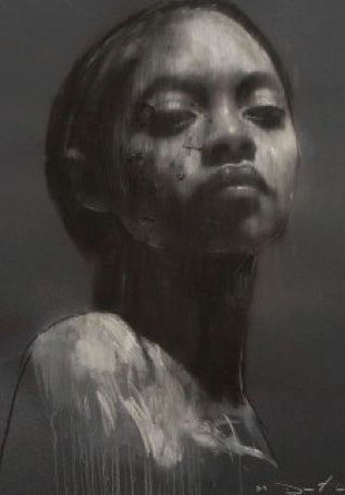"""Ciprana 2"" - Mark Demsteader {contemporary artist female african-american black female head woman face pastel collage portrait drawing}"