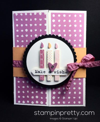 Wish Big Framelits Dies & Biggest Birthday Ever Stamp Set card created by Mary Fish, Stampin' Up! Demonstrator.  1000+ StampinUp & SUO card ideas.  Read more http://stampinpretty.com/2016/10/pals-wicked-folds-blog-hop.html