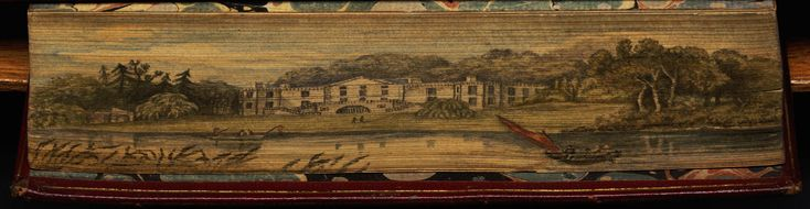Book title: Beauties of the poets Janes, Thomas, comp. The Beauties of the Poets. Being a collection of moral and sacred poetry. London, 1788. F'cap 8vo, contemporary red morocco, gilt edges. With an unusually fine fore edge painting of the residence of Alexander Pope at Twickenham as viewed from the Thames. A front fly leaf bears an elaborately decorative pen and ink inscription, dated 1790