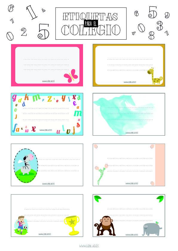 Etiquetas para el cole para imprimir // free printable school labels