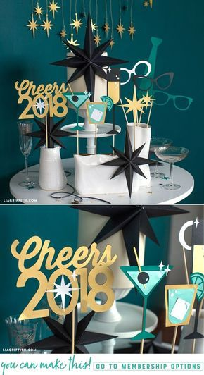 Make These Easy New Year's Photobooth Props for the Ultimate Party - Lia Griffith - www.liagriffith.com #newyears #newyearseve #nye #diyparty #diyphotobooth #paper #paperart #diyinspiration #madewithlia