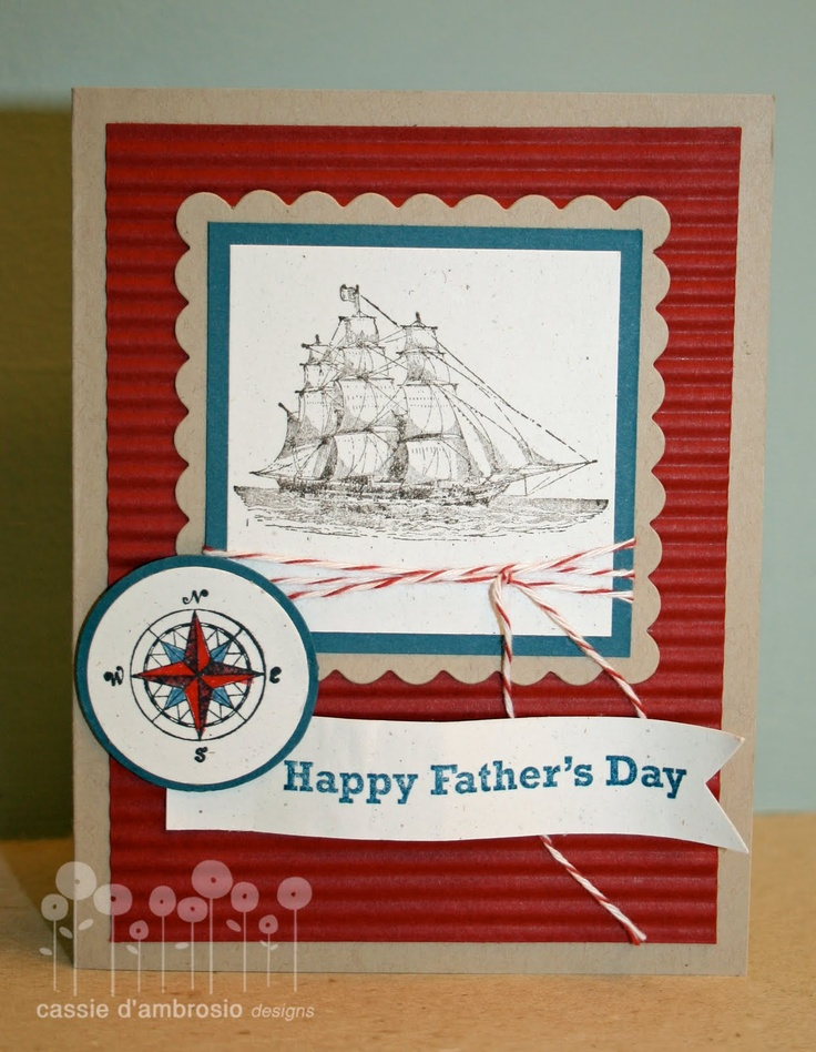 I like the red, crimped background with the ocean blue accents. By paper owl {cassie d'ambrosio}: Stampin' Up! - The Open Sea (Apr'13)