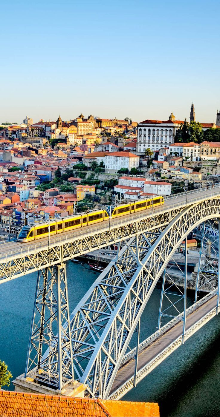 View of the Historic City of Porto, Portugal with the Famous Dom Luiz Bridge