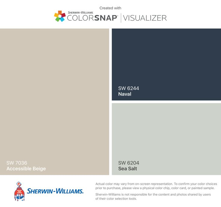 I found these colors with ColorSnap® Visualizer for iPhone by Sherwin-Williams: Accessible Beige (SW 7036), Naval (SW 6244), Sea Salt (SW 6204).