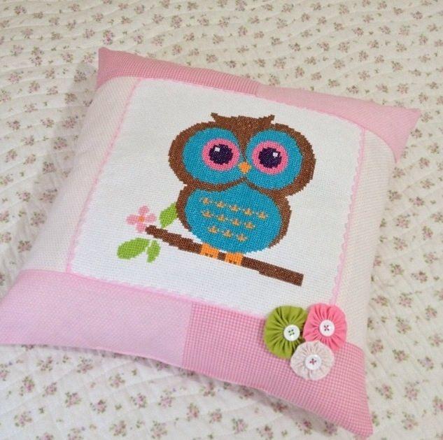 Cross stitch owl pillow