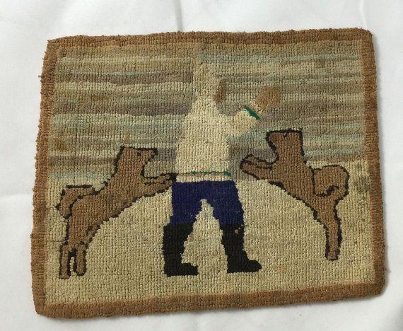 Vintage Grenfell Industries Hooked Rug Mat Labrador Newfoundland Mission Silk Stocking Hooking Burlap Siberian Husky Dogs