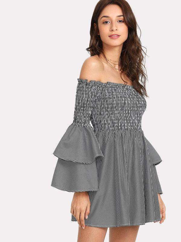 8169dd7655 Shirred Bardot Tiered Sleeve Striped Dress -SheIn(Sheinside)