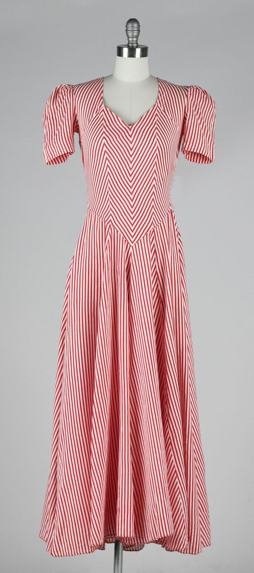 vintage 1930s dress . red striped cotton . by millstreetvintage