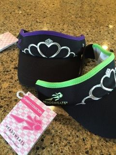 This Tiara Visor is black with lime green piping and silver tiara embroidered on the front with clear rhinestones heat applied at factory. Running Princess and Headsweats logo is in green writing on sides.  Running Princess racing visor is 100% CoolMax® Polyester Fabric for wrap around wicking  Visor has elastic backing for the best fit. Light weight comfort at 1.5 ounces. We recommend using sunscreen for maximum protection. 100% machine washable