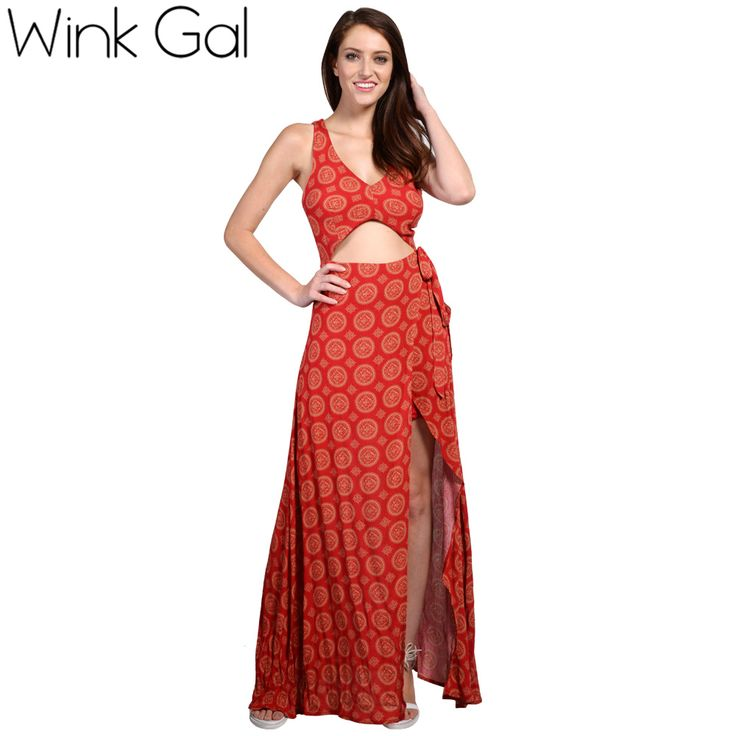 Buy Wink Gal Casual Beach Dress Maxi Dress Keyhole Waist Long Split Cut Out Designer Clothes 3177 from Reliable dress for dance competition suppliers on Wink Gal