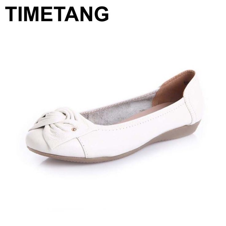 New Genuine Leather Flat Shoes Women Ballet Shoes Slip On Leather Women Flats Shoes Size 35-40 #C326