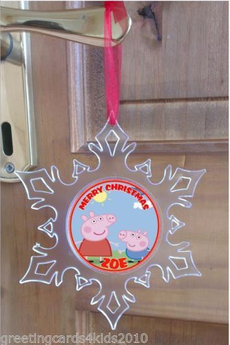 personalised peppa pig acrylic snowflake christmas ornament decoration gift madisons christmas tree pinterest ornaments christmas ornaments and