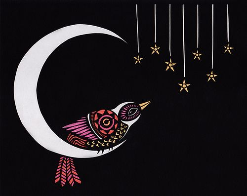 Moon Dweller - this would make a great needlepoint design!