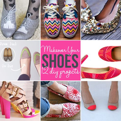 12 diy shoe makeover / update tutorials via lilblueboo.com  includes a fun way to fix Toms that have a hole in the toe. :)