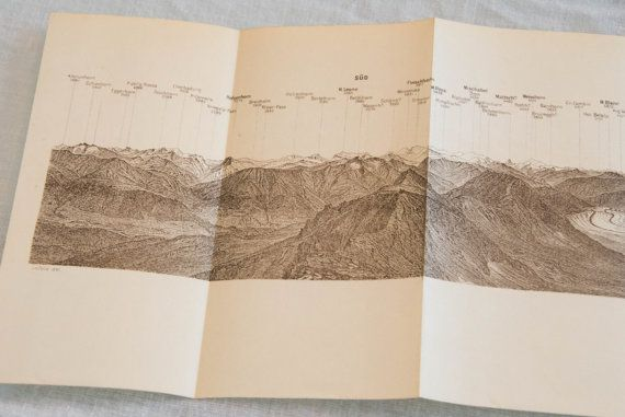 Original 1928 panorama of Eggishorn mountain in Switzerland, showing the various…