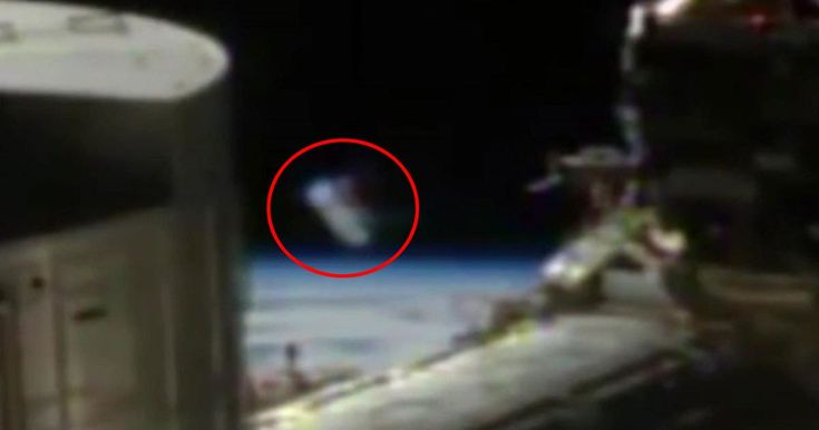 The odd shape can be seen in the clip, after space fans spotted it in the black behind the ISS