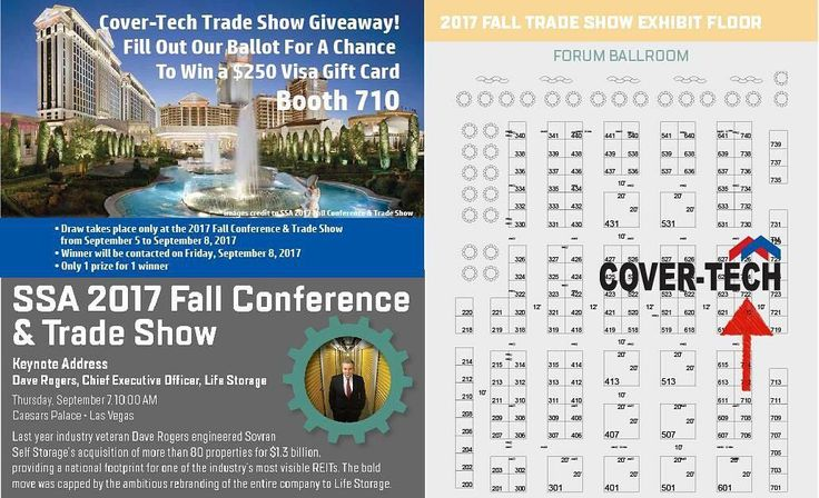 We are excited to be part of the SSA 2017 Fall Conference & Trade Show on September 5-8, 2017 at Caesars Palace, Las Vegas, NV. Check out their schedule here http://www.selfstorage.org/Events-Education/Events/National-Fall-Conference for interesting topics with expert keynote speakers they have going on during the conference. And visit our booth #710 for our trade show giveaway!  #SelfStorage #SSAVegas17 www.cover-tech.com