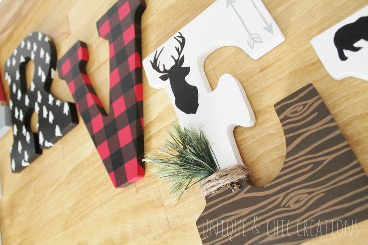 Lumberjack Moose Bear Deer Plaid Woodland Forest Whimsical Wooden Nursery Letters by KraftinMommy on Etsy