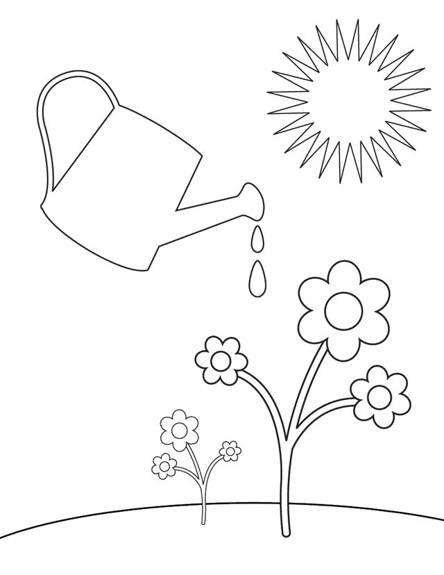 Springtime coloring sheets Spring watering can Coloring