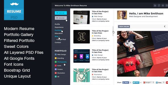 Tiny - Online Professional Resume PSD | #webdesign #it #web #design #layout #userinterface #website #webdesign #themeforest
