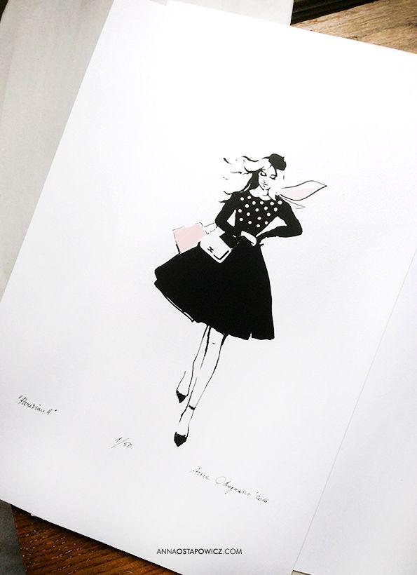 Parisian, illustration, Anna Ostapowicz, #watercolour, #drawing, #paris, #fashion, #model, #chic, #illustration, #chanel #style, #magazine, #fashionillustration,