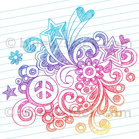 handdrawn sketchy peace sign doodle drawing vector