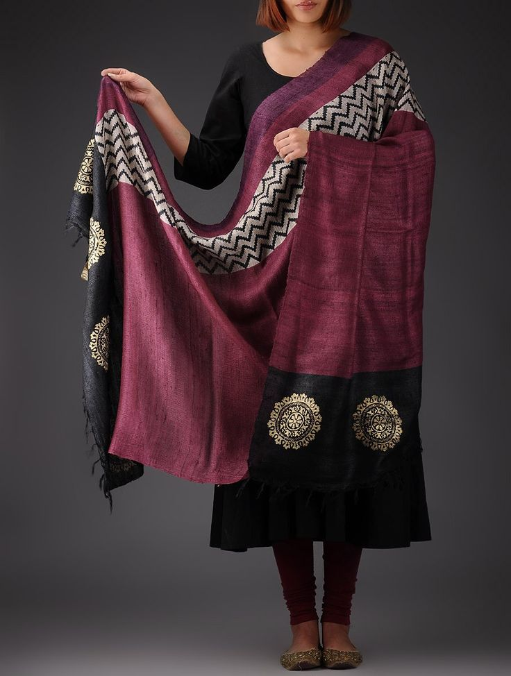 Buy Dark Pink Black Damask Organic Silk Block Printed Handwoven Dupatta Accessories Dupattas Online at Jaypore.com